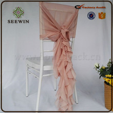 Ruffled chiavari chair cover for wedding ,wedding Curls chiavari chair cover, chiffon wedding chair hood cover