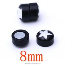 Trendy Stainless Steel Men Women Round Magnetic Clip Black Stud Earrings Magic