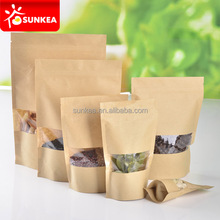 Front window zip lock kraft paper bag stand up