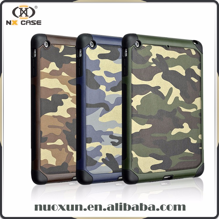 Super quality camouflage design for ipad military leather case