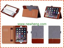 with hand strap multi functional leather case for apple ipad mini 4, leather case with stand and stylus holder for ipad mini 4