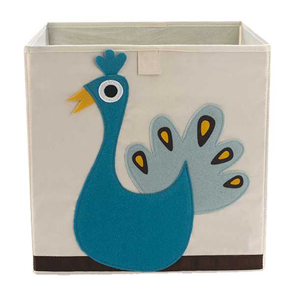 Felt Polyester Fashion Peacock Cute Kid Lego Toy Storage bin, Collapsible Storage Bin Organizer