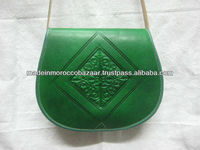 Green Moroccan Handmade Genuine Leather Bags For Girls