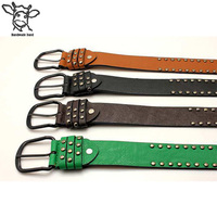 Handmade Band fashionable krean style rivet belt men and women wide leather belt