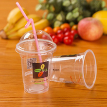 Custom High Quality Clear Plastic Cup With Straw