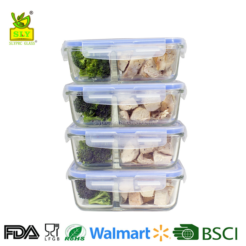 2 Compartment Glass Meal Prep Containers 8-Piece Set with Snap Locking Lid (40oz,1180ml Rect.)
