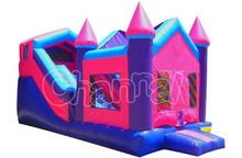 Pink Combo for Rent Inflatable Princess Castle House Bouncer with Slides