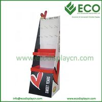 Custom Cardboard Display Plastic Hook Paper Floor Display with Pegs