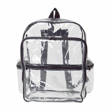 "Large Clear Transparent PVC Multi-pockets School Backpack Outdoor Backpack Heavy Duty Backpack 17"" Bookbag"