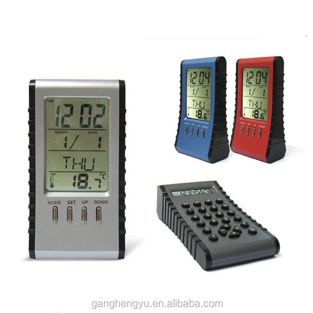 Novelty Calendar and Temperature Display Desk Alarm Clock With Calculator