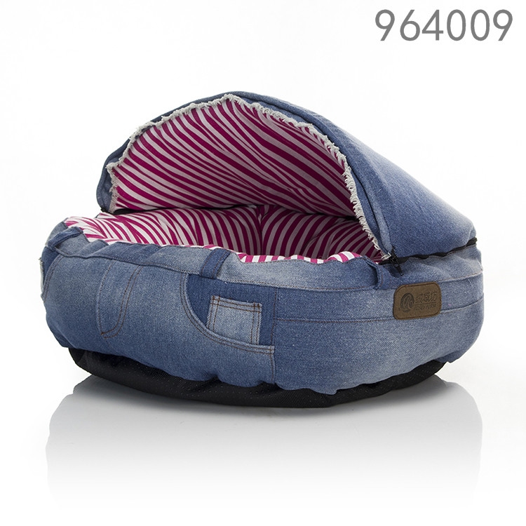 fashion jeans material foam filling cute cat cave bed for sale