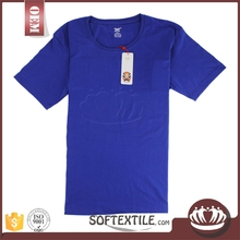 Custom fashionable high quality V-neck organic cotton fabric plain t-shirt for men