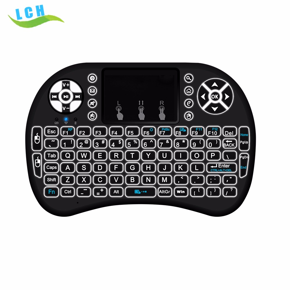 best selling usb i8 Mini Keyboard backlit 2.4G Wireless Air Mouse for android tv box tablet PC