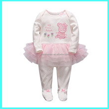 Long Sleeve Infant's 100% cotton / 100% polyester knitted pink baby girl romper with tutu