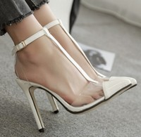 X81564B Transparency pure Color footwear Sexy high Heel ladies Sandals photo