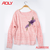 Beautiful flower fancy dress costumes pretty embroidery design cozy ladies hand knitted sweater