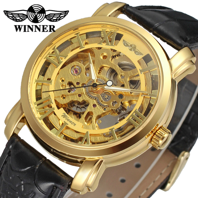 Skeleton Automatic Mechanical Watch Winner ,Gold men watch with big face