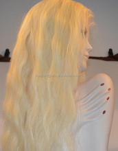 Free Shipping Top Quality Long Water Wave Golden Human Hair Lace Front Wig