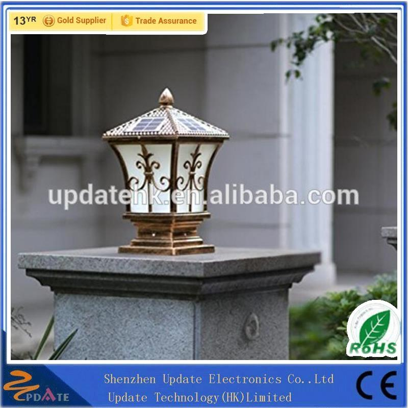 IP65 post top brightness garden high pole aluminium path light solar lamp
