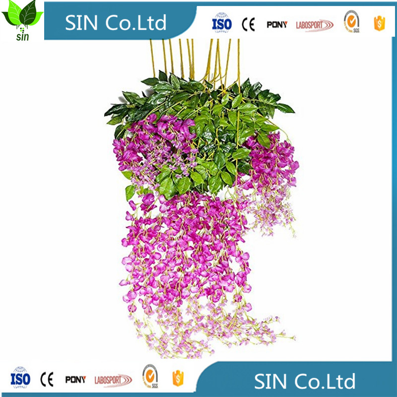 china SIN Artificial Fake Wisteria Vine Ratta Silk Flowers for Garden Wedding Decor (Milk white)