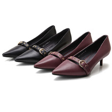 China factory wholesale high quality latest fashion adjustable strap pointed-toe genuine leather ladies kitten heel shoes