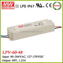 Meanwell LPV-60-48 waterproof led power supply 48v