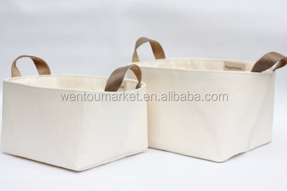 Natural Cotton Canvas Storage Basket