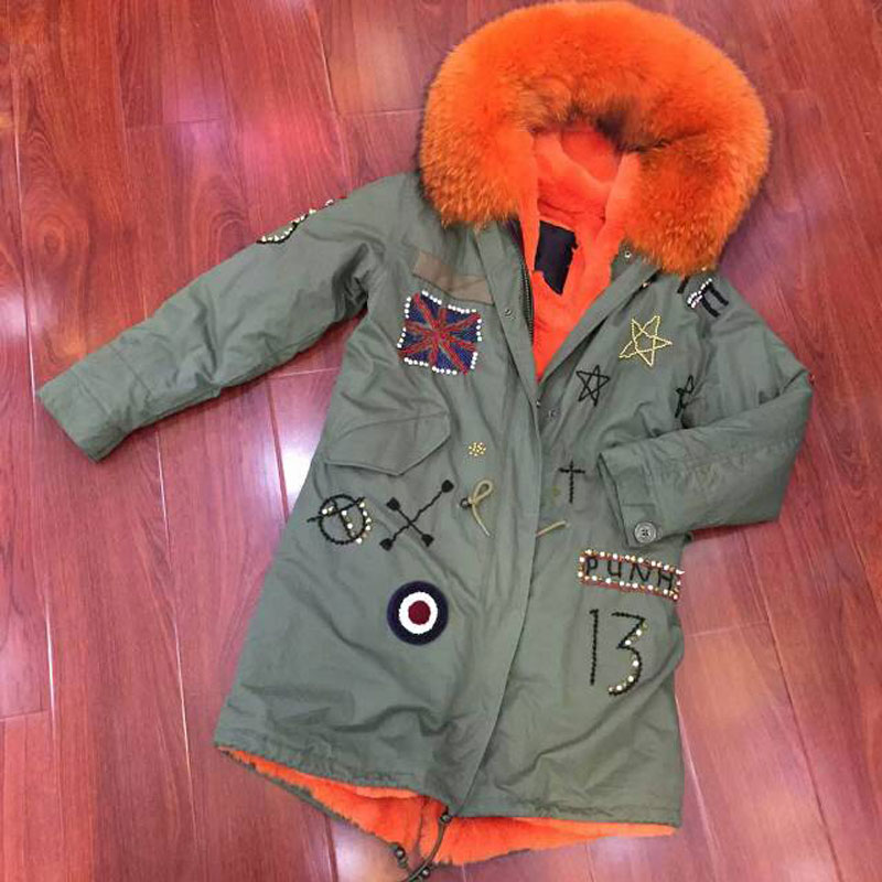 2017 New Fashion Women Orange Raccoon Fur and faux fur lining Winter Army coat