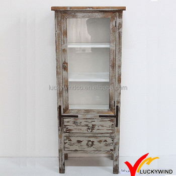 Shabby Sand Blasting Chic Antique Wooden Bookcase With Two