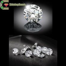 Star cut cubic zirconia loose round white synthetic stone thin girdle cz gems
