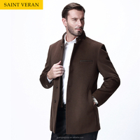 2015 new arrival brown color stand collar overcoat winter woolen coat male