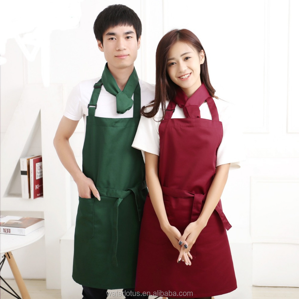 Promotional Custom high quality black chef apron, Universal kitchen apron with pocket