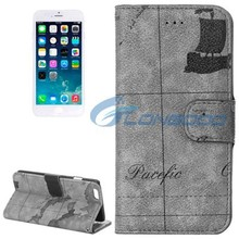 World Map Style With Card Slots & Holder Horizontal Flip Leather Case for iPhone 6 4.7""