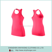 Promotion Hot Pink Polyester Fitness Tank Tops With Side Mesh Panles