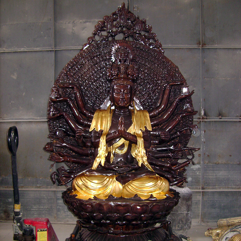 famous hand made antique buddhism theme thousand hands metal casting bronze buddha statue for indoor temple