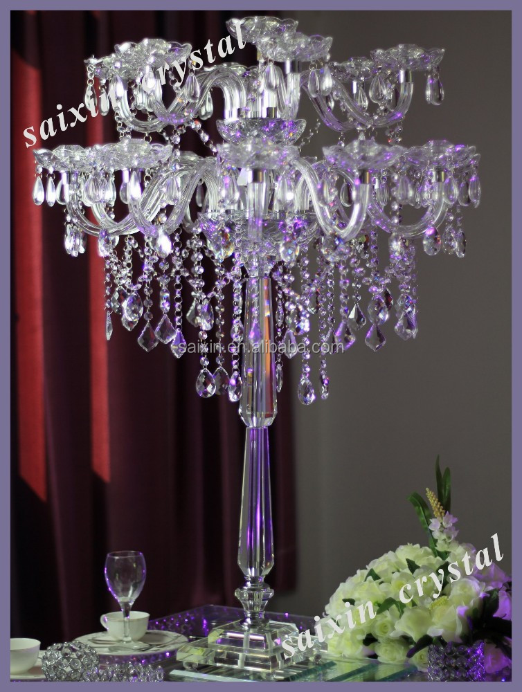 Gorgeous crystal candelabra wedding high table decor for Where can i buy wedding decorations