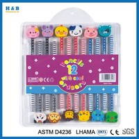 12pcs cool pencil with eraser