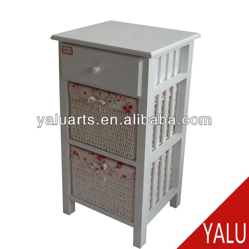 furniture wood cabinet besides nightstand with basket and drawer