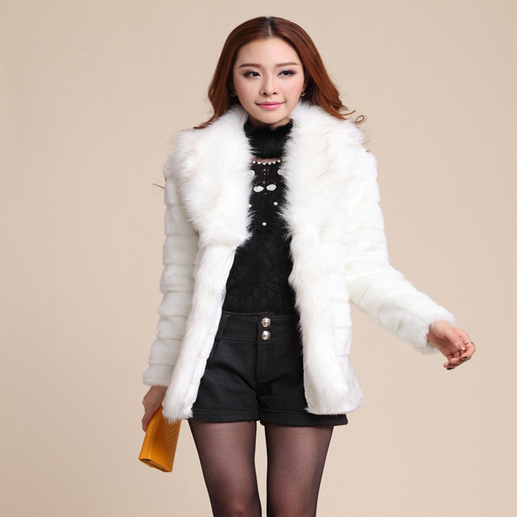 Newest Faux Mink Fur Coats from China with Fox Collar Sexy Women Fur Coat