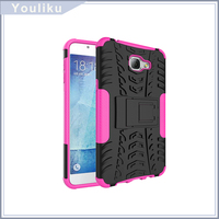 Hot selling tpu+pc soft cell phone case, hybrid kickstand back cover case for samsung A9(2016)
