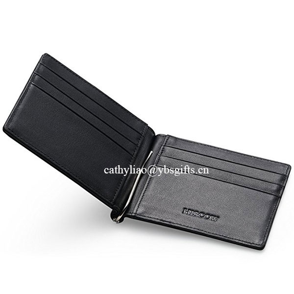 RFID Blocking Ultra Slim Leather Thin Minimalist Pocket Wallets for Men Money Clip