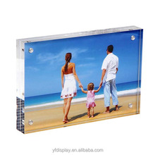 Customized Destop Block Acrylic Photo Frame, Factory Cheap 4x6 5x7 8x10 Clear Acrylic Magnetic Photo Picture Frame