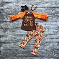 fall boutique outfits girls shine your light on the world outfits girls floral sets with necklace and hairbows
