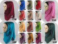 cotton jersey with chain plain muslim hijabs chain border shawls QK002