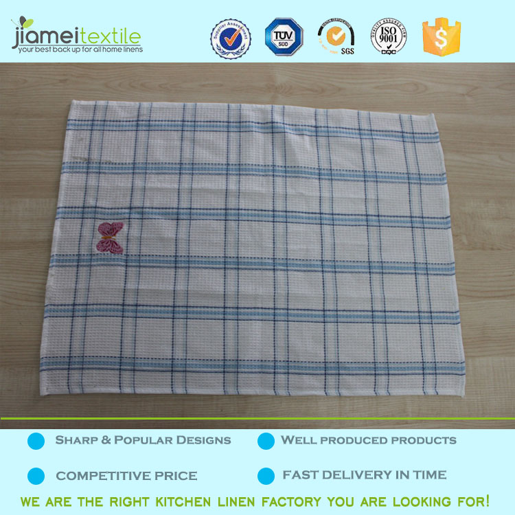 yarn dyed pattern and adults age group embroidery waffle weave kitchen towel