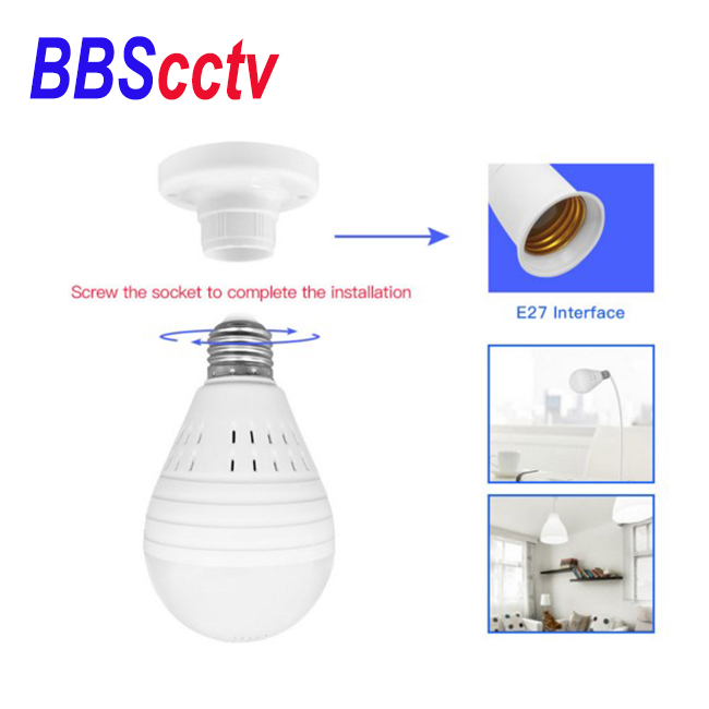 HD wireless <strong>wifi</strong> 1080p 2MP hidden white light ir led dual light bulb security lamp hidden camera