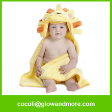 hot selling Amazon Natural Cotton lovely baby towel with hood
