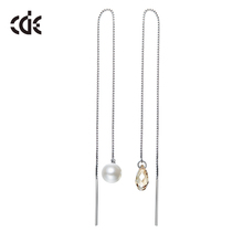 ODM OEM crystals from Swarovski jewelry manufacturer custom long drop new design fashion 925 silver earrings