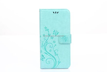 wholesale candy mint green color leather wallet case for Apple Iphone 5G/5S/SE