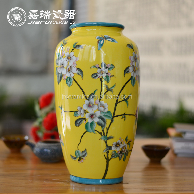 China Blue White Yellow Green Porcelain Hand Painting Flower Vase for Home Restaurant Office Decoration